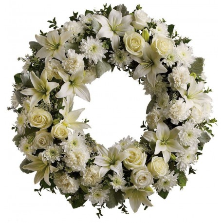 Corona de rosas, lirios y crisantemos