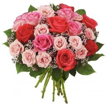 Ramo de rosas rojas y rosadas